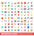 100 musical icons set cartoon style vector image vector image