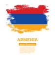 armenia flag with brush strokes independence day vector image vector image