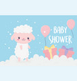 bashower cute little sheep in clouds with gifts vector image