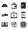 big debt icons set simple style vector image vector image