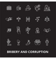 bribery and corruption editable line icons vector image vector image