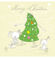 christmas tree with two rabbit vector image vector image
