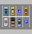 city parking lot with different cars vector image vector image