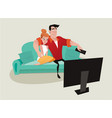 couple relaxing on the sofa watching tv vector image vector image