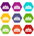 crown icon set color hexahedron vector image vector image