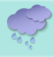 dark paper cut clouds and rain drops 3d paper art vector image vector image