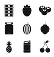 eating for tea icons set simple style vector image vector image