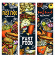fastfood burgers and sandwiches food sketch vector image vector image