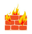 firewall icon flat wall in fire icon vector image