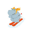 flat cartoon funny hippo character skiing vector image