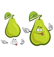 Funny green yellow pear fruit character vector image