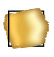 Gold brush in black square frame isolated white