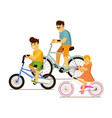happy family riding bicycle together on white vector image vector image