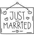 just married icon doddle hand drawn or black vector image