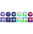 landscape time icons sky and field daytime circle vector image vector image
