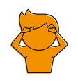 man with hands on head cartoon icon image vector image vector image