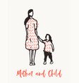 mother child walking together drawn sketch vector image