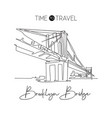one single line drawing brooklyn bridge landmark vector image