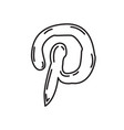 pinterest icon doodle hand drawn or black vector image vector image