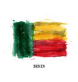 realistic watercolor painting flag benin vector image vector image