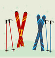red and blue ski equipment in the snow winter vector image