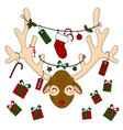 reindeer head with christmas gift boxes and labels vector image vector image