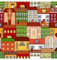 retro seamless houses old town streets pattern vector image