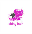 shiny hair girl logo vector image vector image