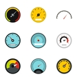 Speedometer for transport icons set flat style vector image vector image