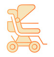 stroller flat icon baby pushchair orange icons in vector image vector image