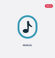 two color musical icon from user interface vector image vector image