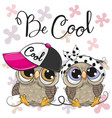 two cute owls with a cap and bow vector image vector image