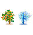 two seasons trees vector image