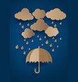 umbrella in the air with rainning vector image vector image