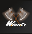 winner element with crossed halberds vector image vector image