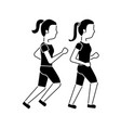 women friends together making sport running vector image vector image