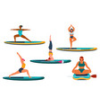 women practicing yoga on a sup board vector image