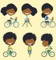 african american school girls on the bikes vector image