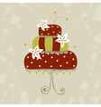 Greeting card with wedding cake vector image