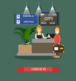airport check-in in flat style vector image vector image