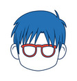 Anime boy with blue hair and glasses