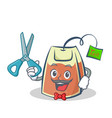barber tea bag character cartoon vector image vector image