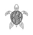 black and white turtle coloring book vector image