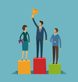 business people on pedestal success vector image