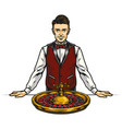 casino croupier and roulette wheel concept vector image