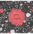 Chalkboard art hearts red frame seamless pattern vector image