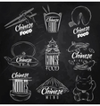 Chinese food symbols chalk vector image vector image
