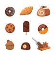chocolate sweet dessert icons organic food vector image vector image
