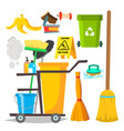 cleaning items household supplies icons vector image vector image