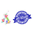 collage map of great britain and ireland with map vector image